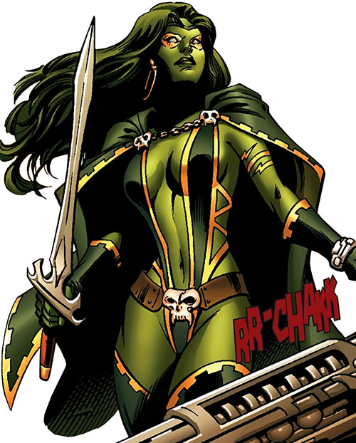 Gamora of the Guardians of the Galaxy (Marvel Comics) as a Select in yellow smoke