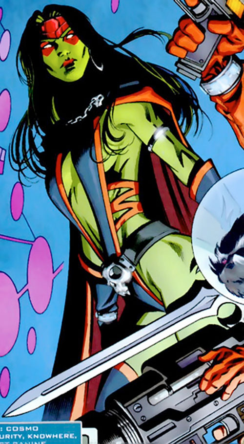 Gamora of the Guardians of the Galaxy (Marvel Comics) with red makeup