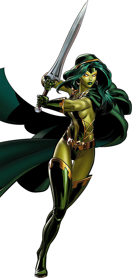 Gamora of the Guardians of the Galaxy (Marvel Comics) with a bastard sword