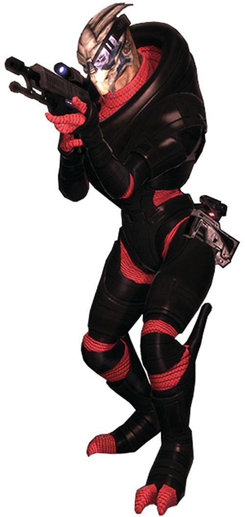Garrus Vakarian in Mass Effect aiming a sniper rifle