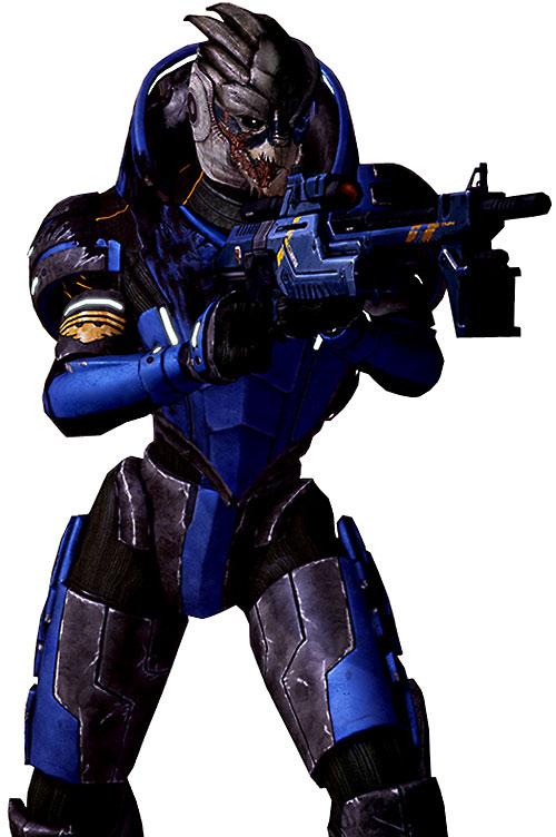 Garrus Vakarian (Mass Effect 2) ready to fire