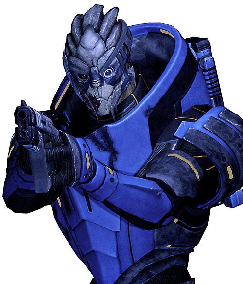 Garrus Vakarian (Mass Effect 2) aiming a Predator pistol