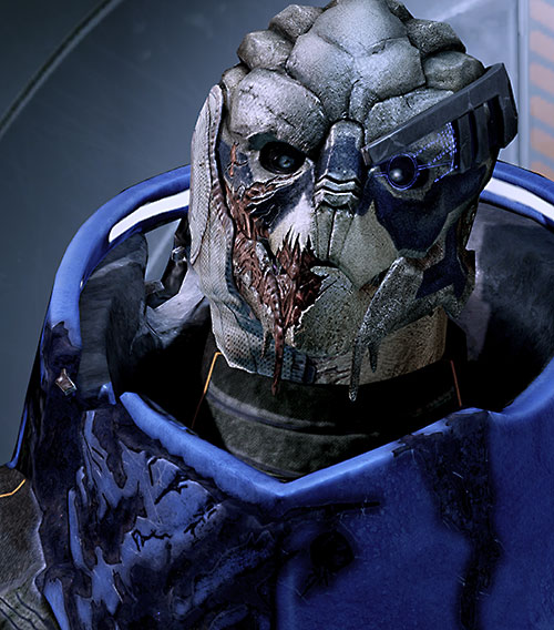 Garrus Vakarian (Mass Effect 2) face closeup damaged armor