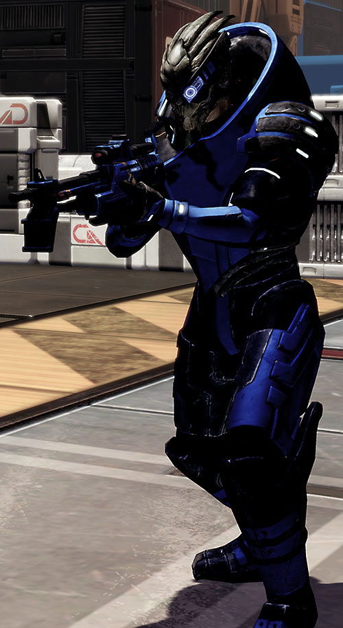 Garrus Vakarian (Mass Effect 2) shadowed and pointing an Incisor