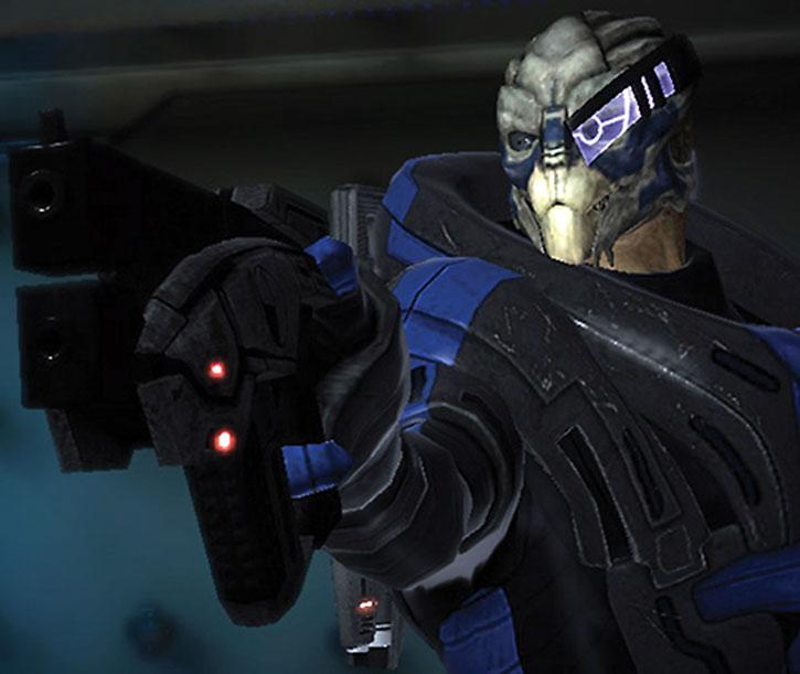 Garrus pointing a Predator pistol