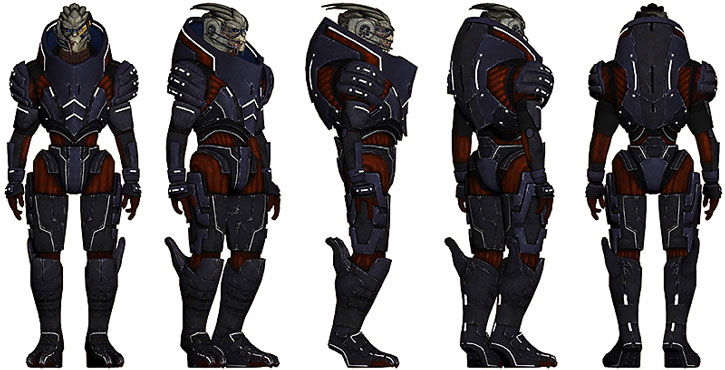 Garrus model sheet (red and blue body armor)