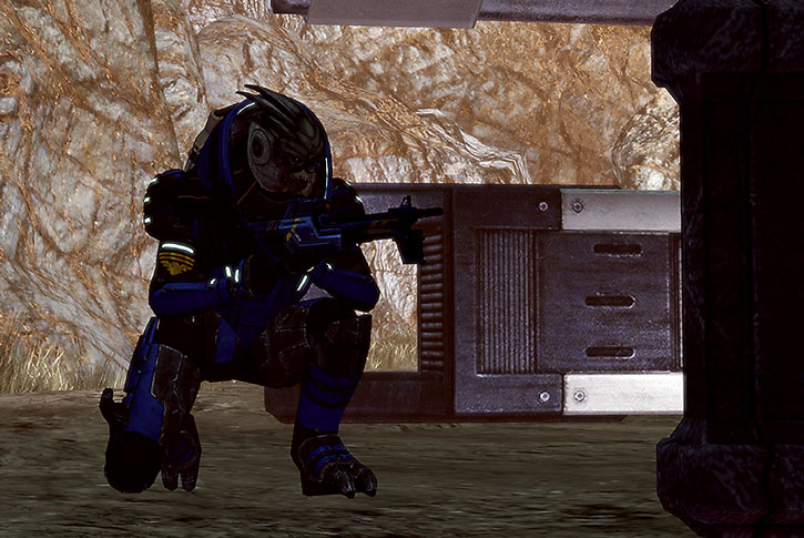 Garrus kneeling with an Incisor rifle