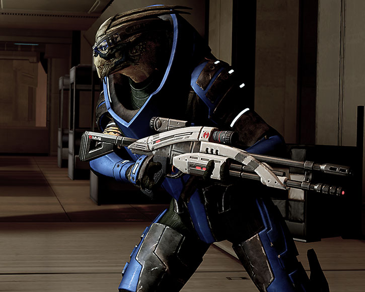 Garrus rushes in with his Mantis rifle