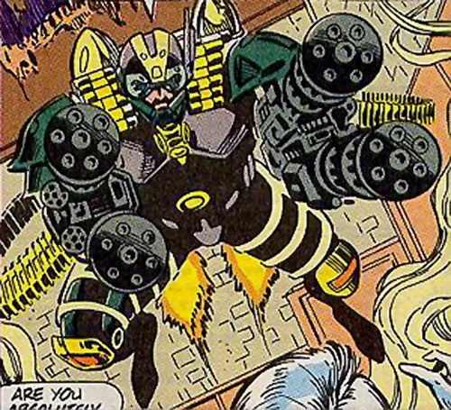 Gattling (Silver Sable enemy) (Marvel Comics) pointing his guns