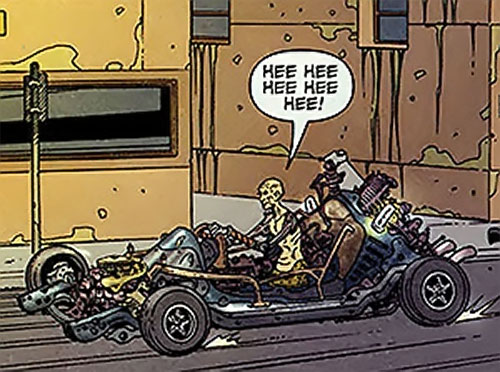 Gearhead in the Rush City DC Comics, with his car having lost its body