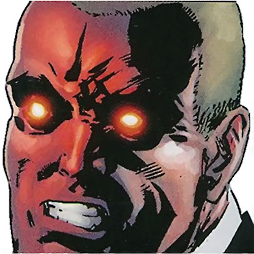 General Softly (Order enemy) (Marvel Comics) face closeup with glowing eyes