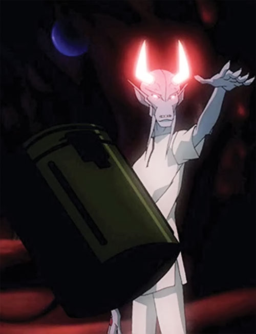 Dubbilex (Young Justice animated series) using telekinesis, horns glowing