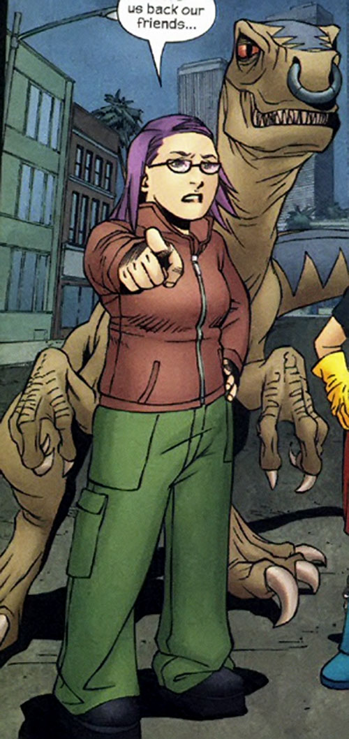 Arsenic (Gertrude Yorkes) of the Runaways (Marvel Comics) with Old Lace behind her