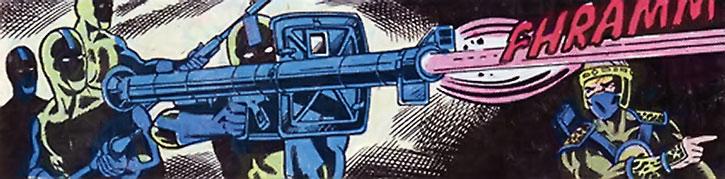 Ghostmaker's henchmen operate a rocket launcher