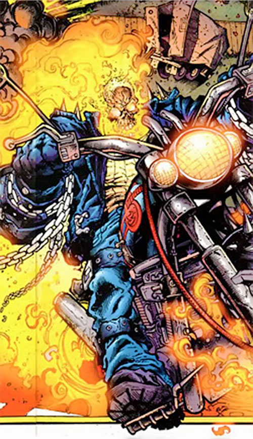 Ghost Rider 2007 (Marvel Comics) riding and burning