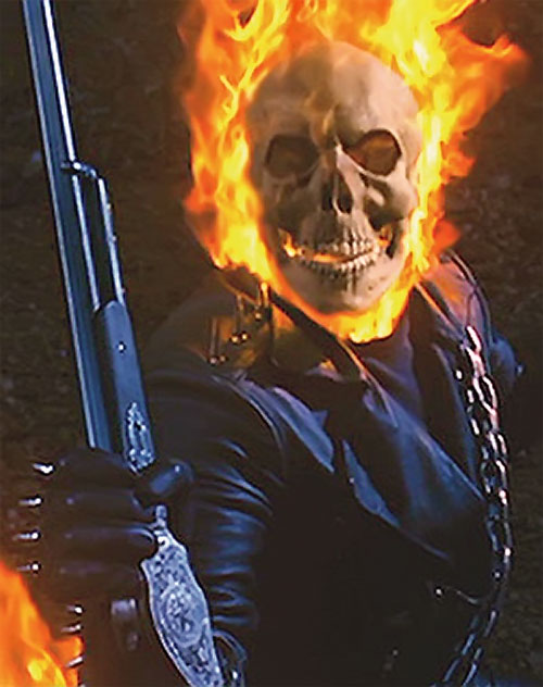 Ghost Rider (Nicholas Cage 2007 movie) grabs his shotgun