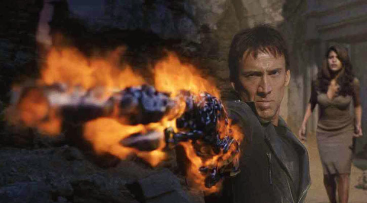 The Ghost Rider (Nicolas Cage) fires a demonic rifle