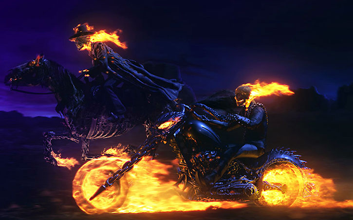 The Ghost Rider (Nicolas Cage) racing his precessor