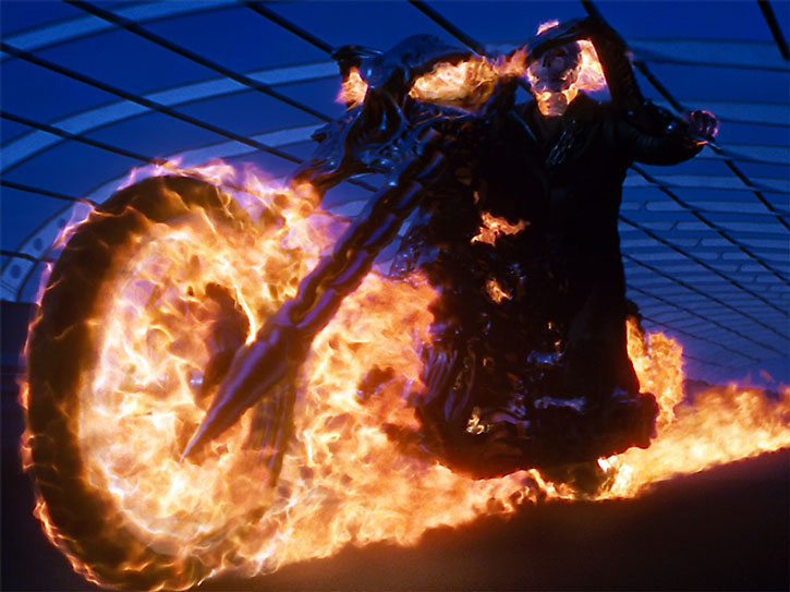 The Ghost Rider (Nicolas Cage) rides in a tunnel