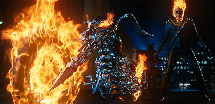 The Ghost Rider (Nicolas Cage) stands next to his demonic motorcycle