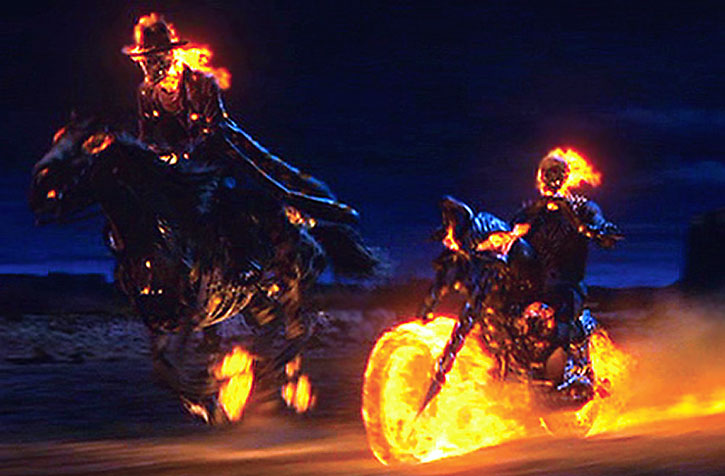 The two Ghost Riders riding in the night