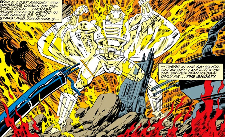 Ghost (Iron Man enemy) standing in an explosion