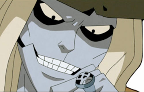 Ghoul of the Jokerz (Batman Beyond enemy) (DC animated) face closeup