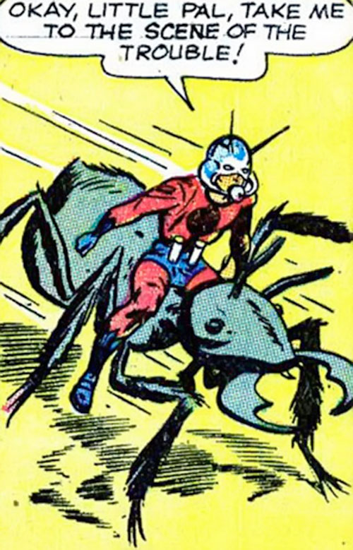 Ant-Man of the Avengers (Marvel Comics) rides a galloping ant