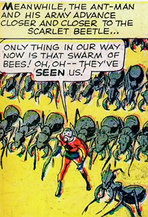 Ant-Man of the Avengers (Marvel Comics) leads an army of ants