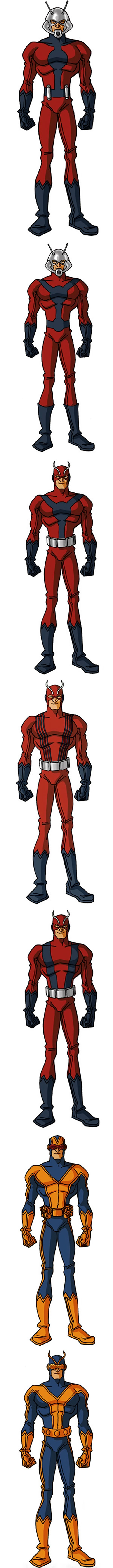 Early costumes of Henry Pym of the Avengers as Ant-Man and Giant-Man, by RonnieThunderbolts
