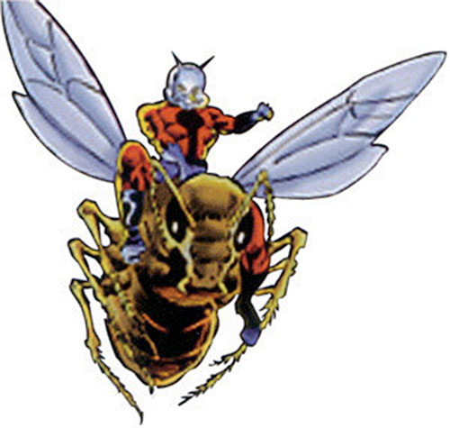 Ant-Man of the Avengers (Marvel Comics) rides a flying ant