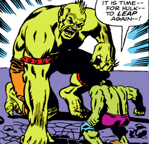 Giant Green Mustachoied Android (Marvel Comics) (Mandarin robot) vs. the Hulk