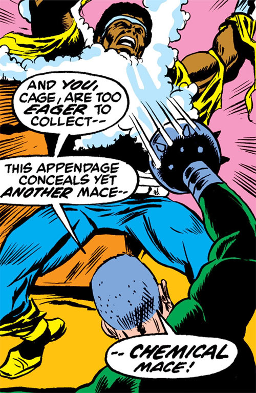 Gideon Mace (Luke Cage enemy) (Marvel Comics) shoots gas from his mace