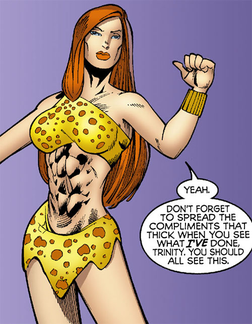 Giganta (Wonder Woman enemy) (DC Comics) on a purple background