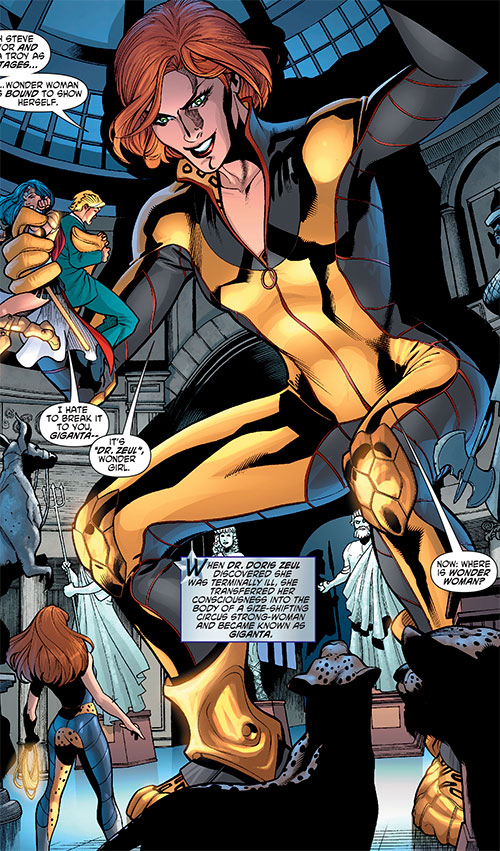 Giganta (Wonder Woman enemy) (DC Comics) with the black and gold jumpsuit