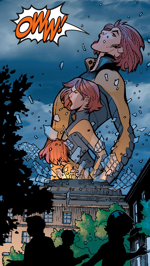 Giganta (Wonder Woman enemy) (DC Comics) erupting in pain from a dome