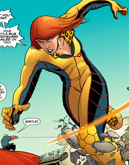 Giganta (Blue Beetle enemy) (DC Comics) tries to catch Peacemaker