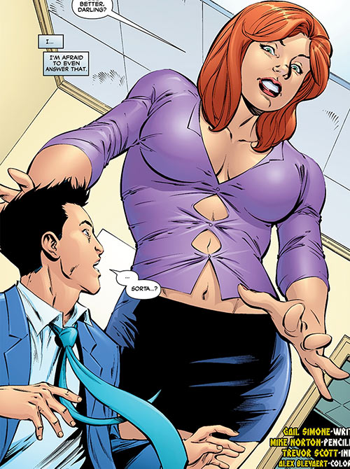 Giganta (Wonder Woman / Atom character) (DC Comics) as Dr. Zeul partially grown