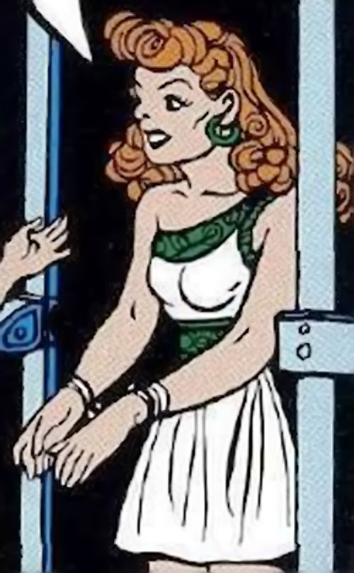 Giganta (Wonder Woman enemy) (Golden Age DC Comics) in a white and green dress