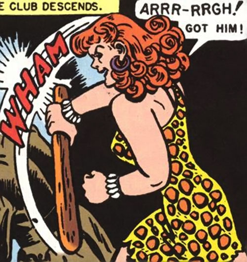 Giganta (Wonder Woman enemy) (Golden Age DC Comics) with a club
