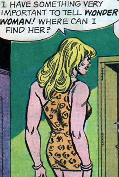 Giganta (Wonder Woman enemy) (Silver Age DC Comics) on the floor between apartments