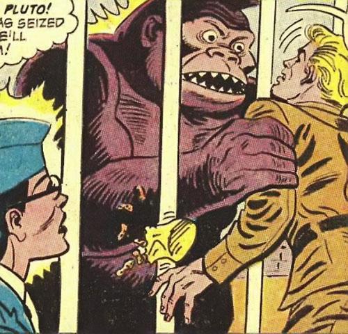 Giganta (Wonder Woman enemy) (Silver Age DC Comics) as an ape seizes Trevor