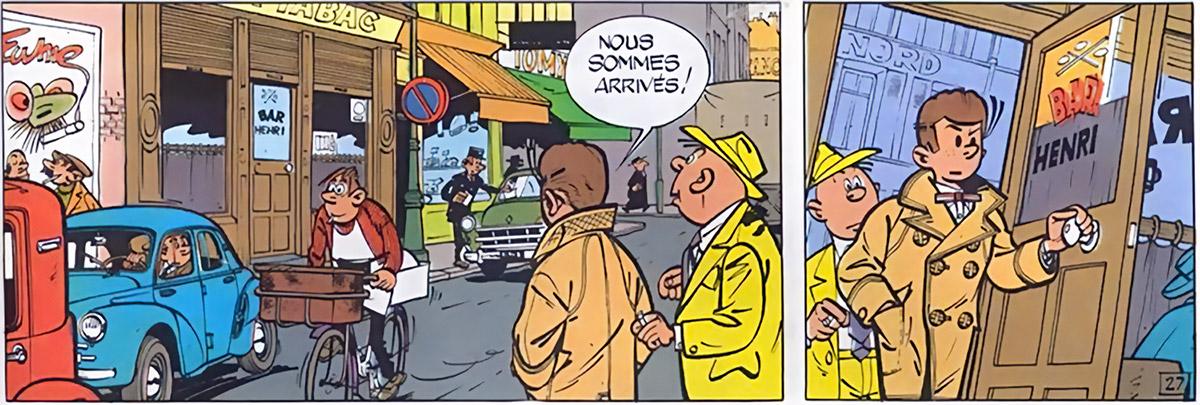 Gil Jourdan - BD - Comics - Rue parisienne et petit bar