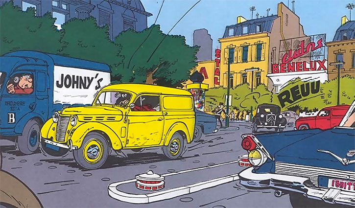 Gil Jourdan - BD - Comics - Renault juvaquatre poursuite rue