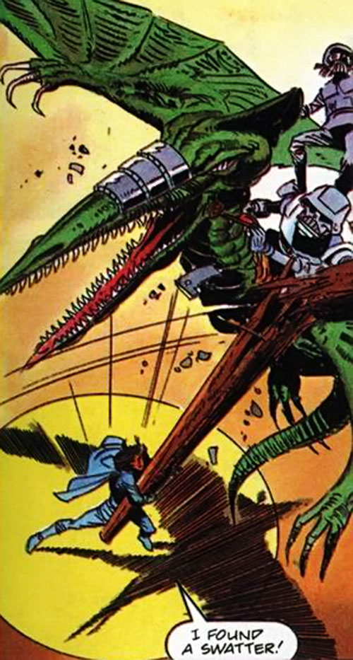 Gilad Anni Padda the Eternal Warrior (Original 1990s Valiant comics) hits a cyberdinosaur with a wooden pole
