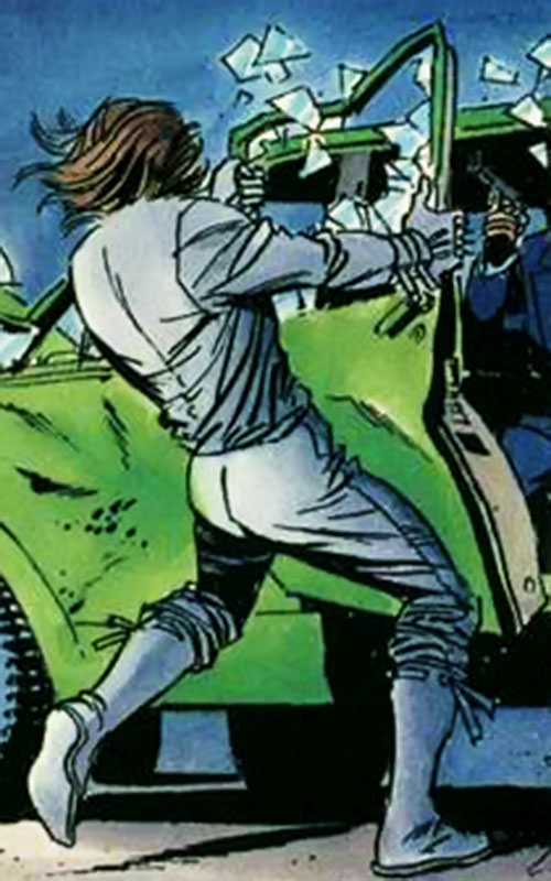 Gilad Anni Padda the Eternal Warrior (Original 1990s Valiant comics) rips out a car door