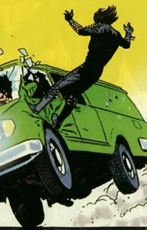Gilad Anni Padda the Eternal Warrior (Original 1990s Valiant comics) kicks a van on its side