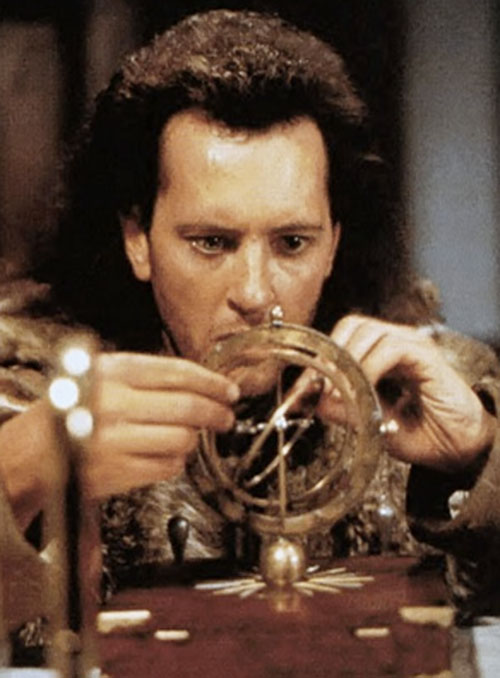 Giles Redferne (Richard Grant in Warlock movies) tinkering with a gadget