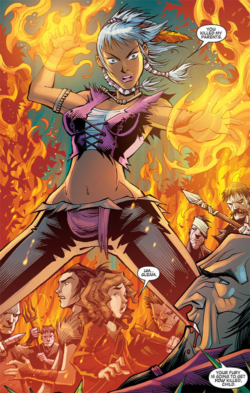 Gleam (Dragon Age comic books) using flame magic, surrounded by cultists
