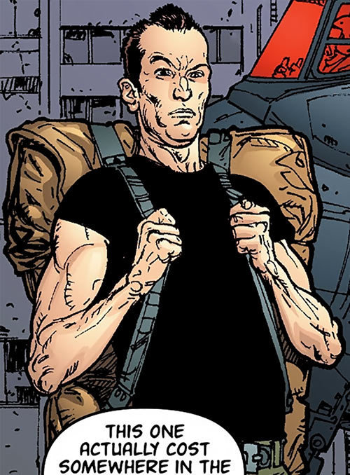 Global Frequency comics - Big Wheel tactical team - Big backpack